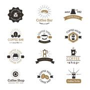 Set of coffee shop sign cafe symbol espresso design morning drink modern badge Stock Illustration