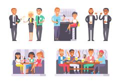 Group of friends enjoying evening drinks in bar alcohol people character vector - stock illustration