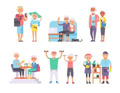 Geriatric care pensioners retirees and happy senior woman elder age characters - stock illustration
