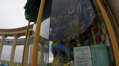 Mongolian Exhibition Behind Glass in Monumental Complex Closeup Stock Footage
