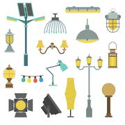 Lamps styles design electricity classic light furniture, different types Stock Illustration