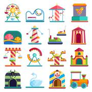 Flat design conceptual city elements with carousels amusement park vector Piirros