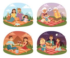 Family picnicking summer happy lifestyle park outdoors together, enjoying meadow Stock Illustration