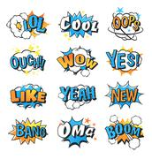 Collection of multi colored comic speech bubble boom effects vector Stock Illustration