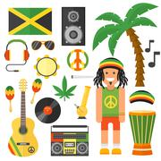 Reggae artist musical instrument and rastafarian elements collection vector - stock illustration