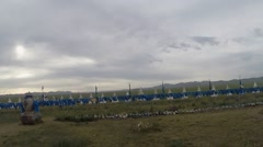 Mongolian National Exposition in the Steppe Under a Heavy Sky Stock Footage