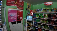 Television Set in a Shop in Mongolian City Stock Footage