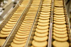 Freshly made biscuits on production line in food factory Stock Photos