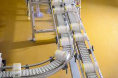 Packed products on conveyor belt in biscuit factory Stock Photos