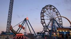 Kemah Boardwalk Amusement Park Stock Footage