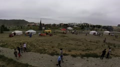 View From Stadium Tribune in Mongolia During Naadam Festival Panoramic View 360 Stock Footage