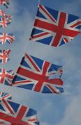 British flags flying in sky Stock Photos
