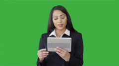 Portrait of young black business women talking isolated green-screen background Stock Footage