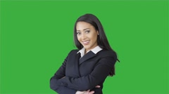 Attractive black women in business suit isolated on green screen background Stock Footage