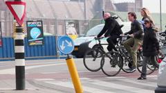 People waiting, crossing, street, Amsterdam, Holland. Stock Footage