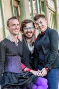 Three Grinning Gender Fluid Friends Stock Photos