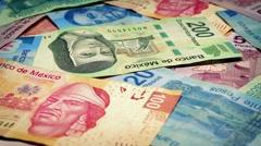 Mexican Peso Banknotes Rotating Closeup - stock footage
