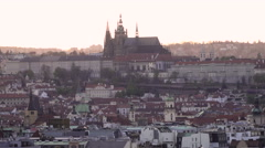 A view to the Prague castle from the Riegrovy Sady during the sunset - stock footage