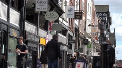 renovated tudor shops in chester highstreet, cheshire, circa 2016 april - stock footage