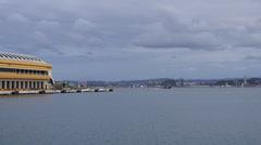 San Juan Harbor - RORO car cargo ship passing next to pier. Stock Footage