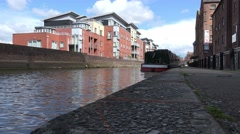 River dee canals with boat cheshire, circa 2016 april Stock Footage
