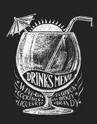 Vector drinks menu on blackboard - stock illustration