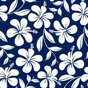 Blue and white tropical hibiscus flowers and leaves seamless pattern Stock Illustration