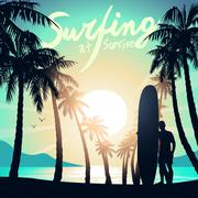 Surfing at Sunrise with a longboard surfer - stock illustration