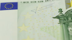 One bill of one hundred of euros a over white background Stock Footage