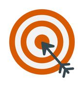 Successful shoot goal icon darts target aim on white background vector - stock illustration