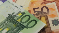 European banknotes, Euro currency from Europe, Euros Stock Footage