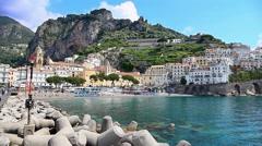 Panorama of town of Amalfi coast, Italy Stock Footage