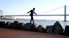 man overcoming obstacles and succeed in business career. recreational activity - stock footage