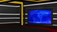 News TV Studio Set 162 - Virtual Green Screen Background Loop - stock footage