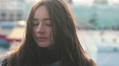 Beautiful Girl With Long Dark Hair Stock Footage