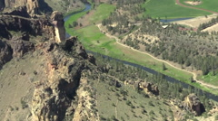 Smith Rock State Park, Monkey's Face Aerial Stock Footage