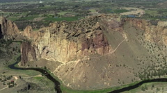 Smith Rock State Park Aerial 2 Stock Footage