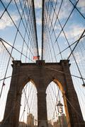 Brooklyn Bridge under blue sky Stock Photos