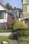 Neighborhood homes Queen's Ann area Seattle. Stock Photos