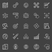 Innovation outline white icons - stock illustration