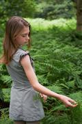 Teenage girl touching bracken in forest - stock photo