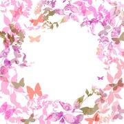 Spring background, Colorful butterflies set wreath with pink lilac leaves Stock Illustration