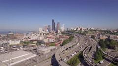 Downtown Seattle Freeway Traffic Aerial with Skyscraper Buildings in Skyline Stock Footage