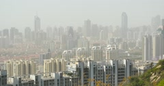 4k Aerial view of urban business building in china,serious air pollution. Stock Footage