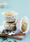 Bran muffins with pumpkin seeds - stock photo