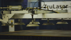 Automatic Vacuum Transfer System Lowered Onto the Sheet Metal. Automatic Vacuum - stock footage
