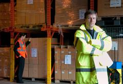 Serious male supervisor in warehouse Stock Photos