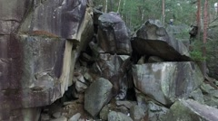 Gray stone rocks in Carpathians Stock Footage