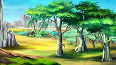 Acacia Trees in Africa. Day View - stock illustration