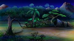 View of the African Bush. Summer Night. - stock illustration